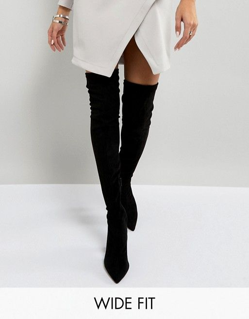 3f3b73404829 River Island Wide Fit Pointed Over The Knee Boots | I WEAR BLACK ...