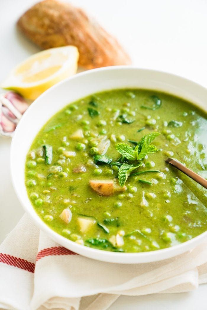 This vibrant spring vegetable chowder is everything good about spring: bright green and fresh, featuring green peas, spinach, chives and mint.
