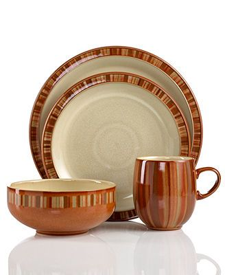 Denby Dinnerware, Fire Stripes 4 Piece Place Setting