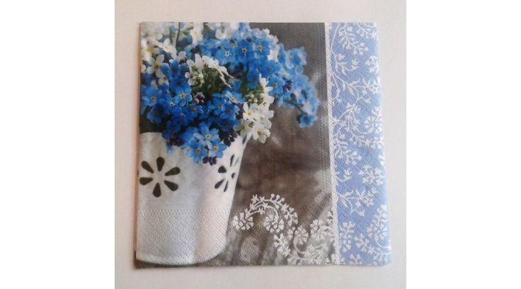 Kék-fehér virágos szalvéta - KreatívHobbyDekor webáruház