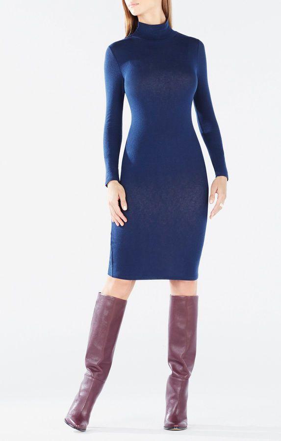Aeryn Long-Sleeve Turtleneck Dress