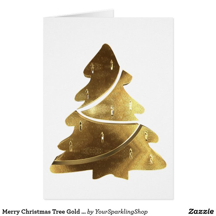 Merry Christmas Tree Gold Look Elegant #christmascard #christmastree #christmas
