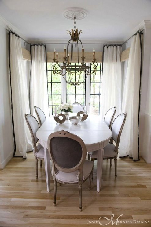 White and Black Curtains, French, dining room, Janie Molster Design