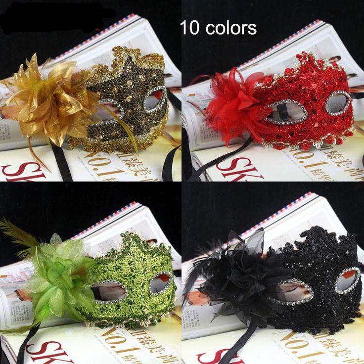 Exquisite Handmade Venetian Leather Rhinestone Flower Masquerade Party Mask Sexy Princess Dance Wedding Birthday Carnival $8.45