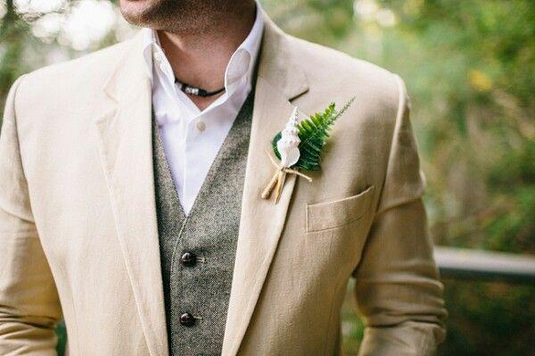 Lightweight beige suit worn with a vintage tweed waistcoat