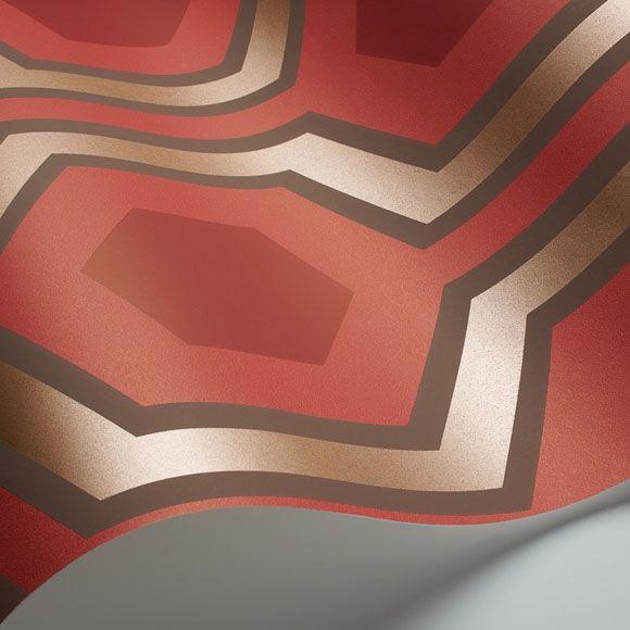 Papier peint géométrique rouge Hicks' Grand - Cole and Son - Au fil des Couleurs