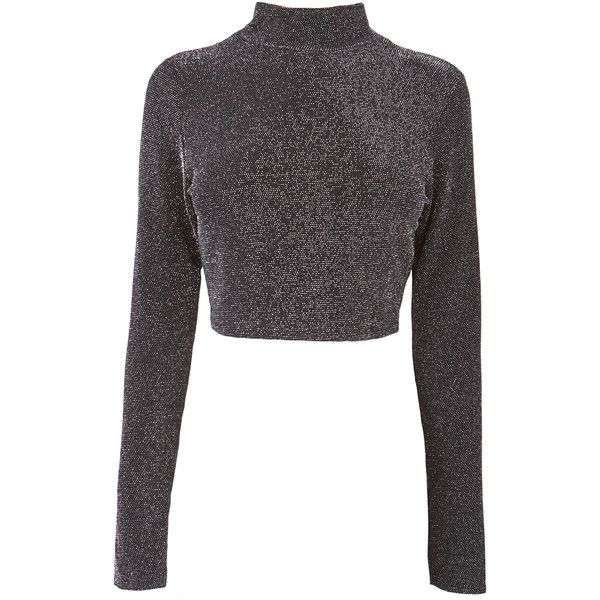 Black Sparkle Crop Top (880 RUB) ❤ liked on Polyvore featuring tops, sweaters, crop top, shirts, jumpers, long sleeve crop top, crop shirt, turtle neck sweater, long-sleeve crop tops and turtleneck crop top