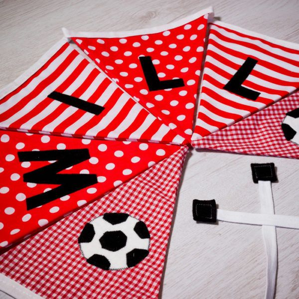 Handmade football flag bunting, personalised with any name. Each flag is carefully produced by hand therefore can be made to suit your own ideas. #personalised #bunting #giftguide #instagift #mumsinbusiness #blanket #taggies #unique #gift #babygifts #aprons #towels #instacool #fabric #nurserydecor #nursery #handmade #kidsgifts #giftideas #present #babyshower #christening #birthday #presents