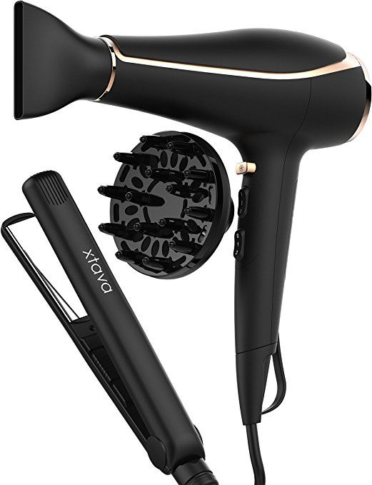 Xtava Double Shine Hair Dryer with Flat Iron Set - Professional Ionic Blow Dryer with Diffuser for Curly Hair and Nozzle Attachment and 1 Inch Titanium Flat Iron Hair Straightener with Dual Voltage - http://amzn.to/2t2KaeW