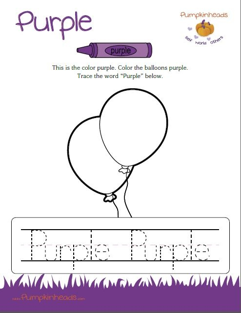 Check out our #Pumpkinheads #Worksheets for the #classroom and at #home! This one is the color purple. Download the full PDF by clicking on the image.