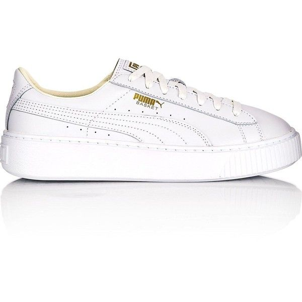 Puma Basket Platform Core Trainers- White/Gold ($110) ❤ liked on Polyvore featuring shoes and sneakers