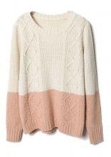 Beige Pink Diamond Patterned Knit Sweater $38