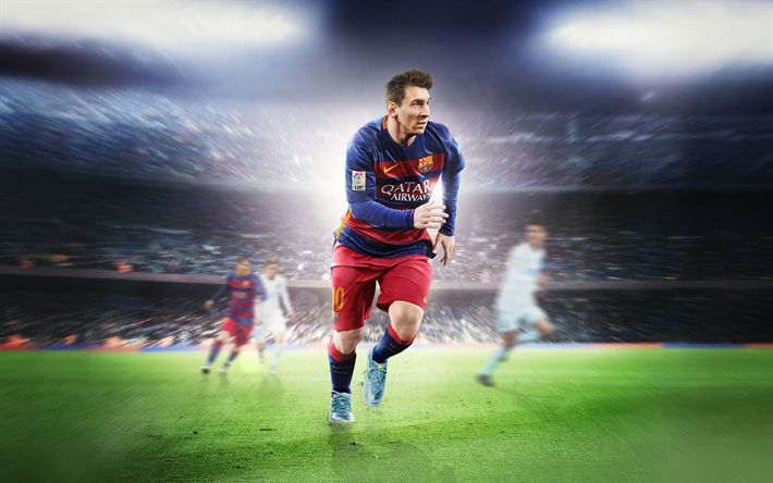 Download wallpapers 4k, Leo Messi, Barca, football stars, art, Lionel Messi, FC Barcelona, footballers, FCB, soccer, Messi