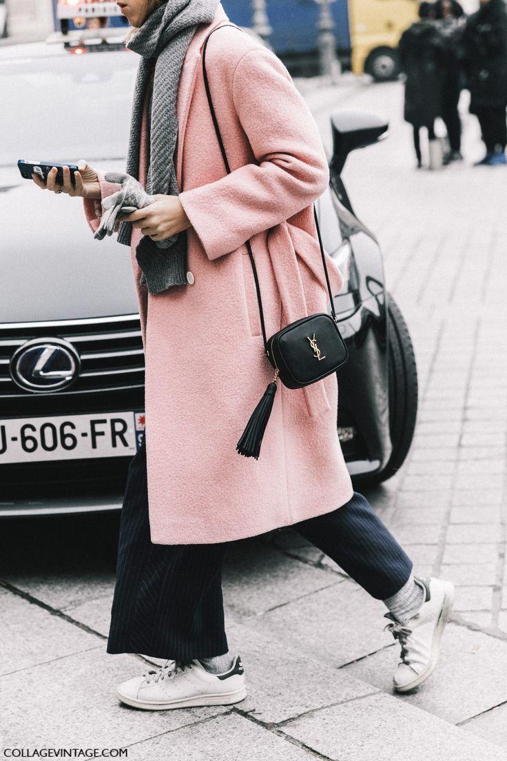 pink coat | Street Style Paris Haute Couture | Collage Vintage