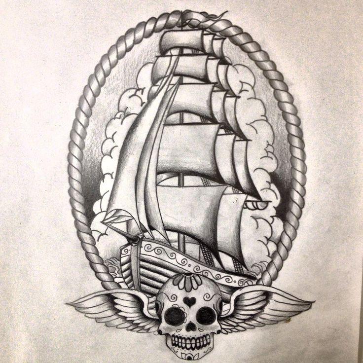 Oldskool ship tattoo design by ~dazzbishop on deviantART