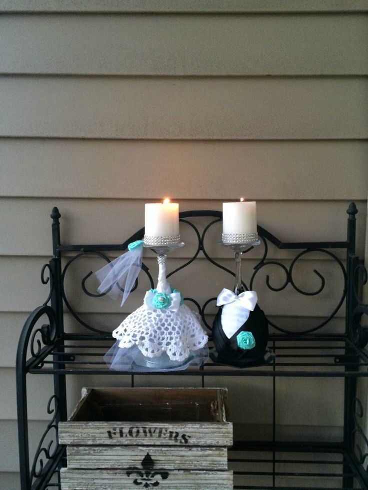 17 best images about wine glass candle holders on for Picture frame candle centerpiece