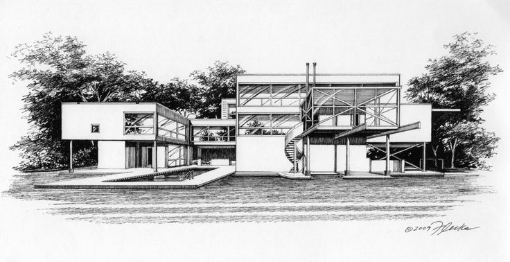 Pen & Ink Illustration of contemporary home created by Richelle Flecke