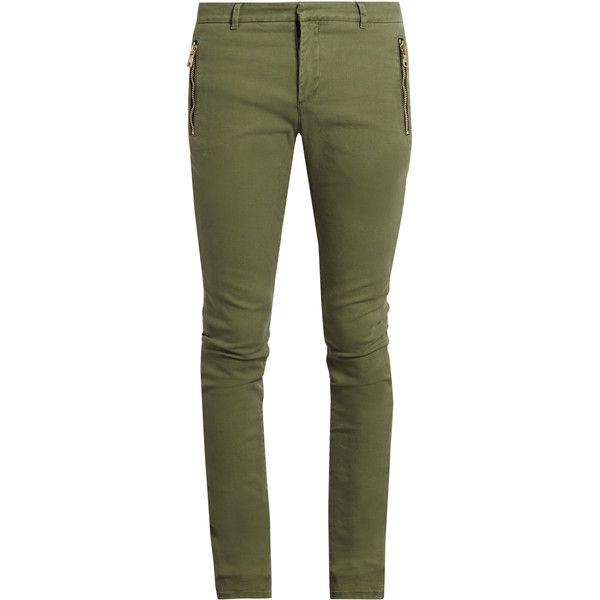 Balmain Zip-detail skinny-fit jeans (1.710 BRL) ❤ liked on Polyvore featuring men's fashion, men's clothing, men's jeans, green, mens biker jeans, mens stretch skinny jeans, mens skinny jeans, mens super skinny stretch jeans and mens skinny biker jeans