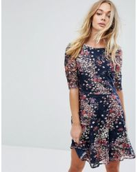 Oasis | Fluted Sleeve Floral Printed Lace Skater Dress | Lyst