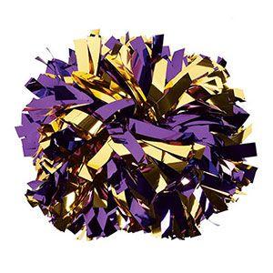 NEW! IN-STOCK Metallic Gold and Purple Baton Handle Pom  by Cheerleading Company