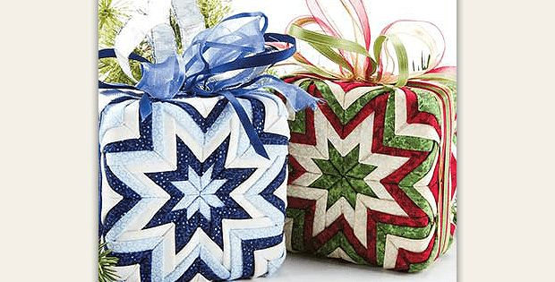 Beautiful in Colors for Other Seasons, Too! Folded fabric squares make beautiful gift box ornaments without any sewing. They are a breeze to make, taking about an hour each, and will be lovely made up in various color combinations. Hang them on your holiday tree or include them in a wreath or an arrangement for …