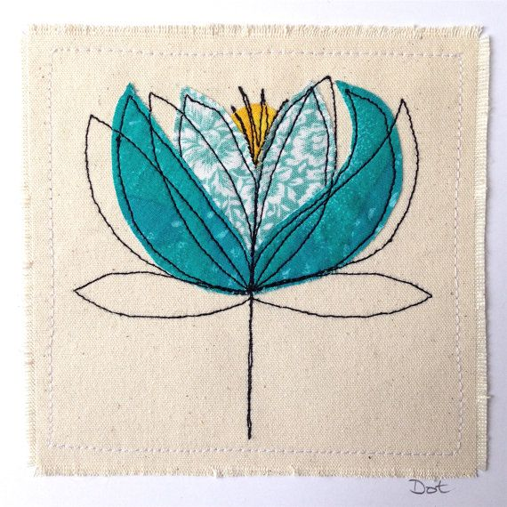 Water Lily greetings card or wall art. A handmade stitched piece of art measuring 6x6 inches square including backing card. The design is appliquéd onto canvas. The item is sold as a greetings card - I also sell a framed version. Cards are left blank inside. This item is made to order, meaning it will be made to my original design (shown above), but each item will be individual and have its own subtle differences. I can make with different fabrics - tell me your fabric colour preferences…
