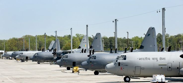 First in line (on right) is an Indian Air Force aircraft configured to meet special operations forces requirement. Next on the line are the first of the new MC-130J Combat Shadow IIs that are being prepared for delivery to US Air Force Special Operations Command. The third aircraft configuration is the new HC-130J Combat King II personnel recovery aircraft developed for the US Air Force Air Combat Command