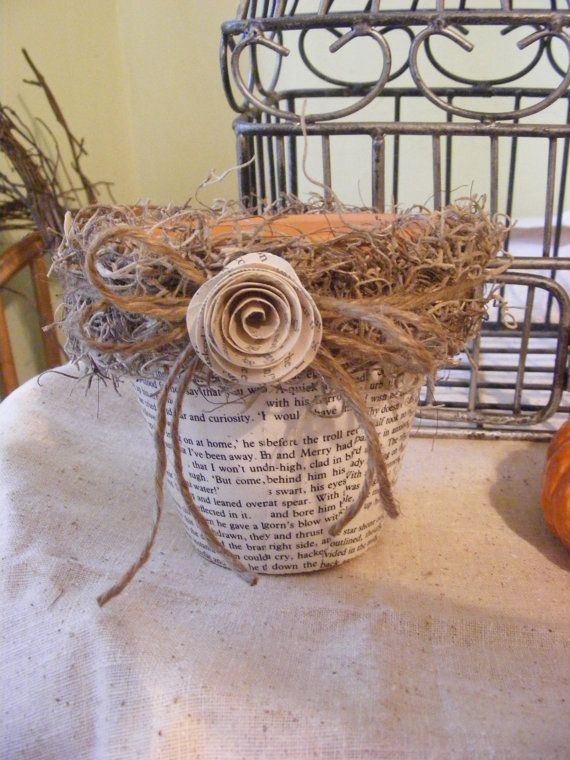 Book Page Herb Flower Pots by monjardindepapier on Etsy, $10.00