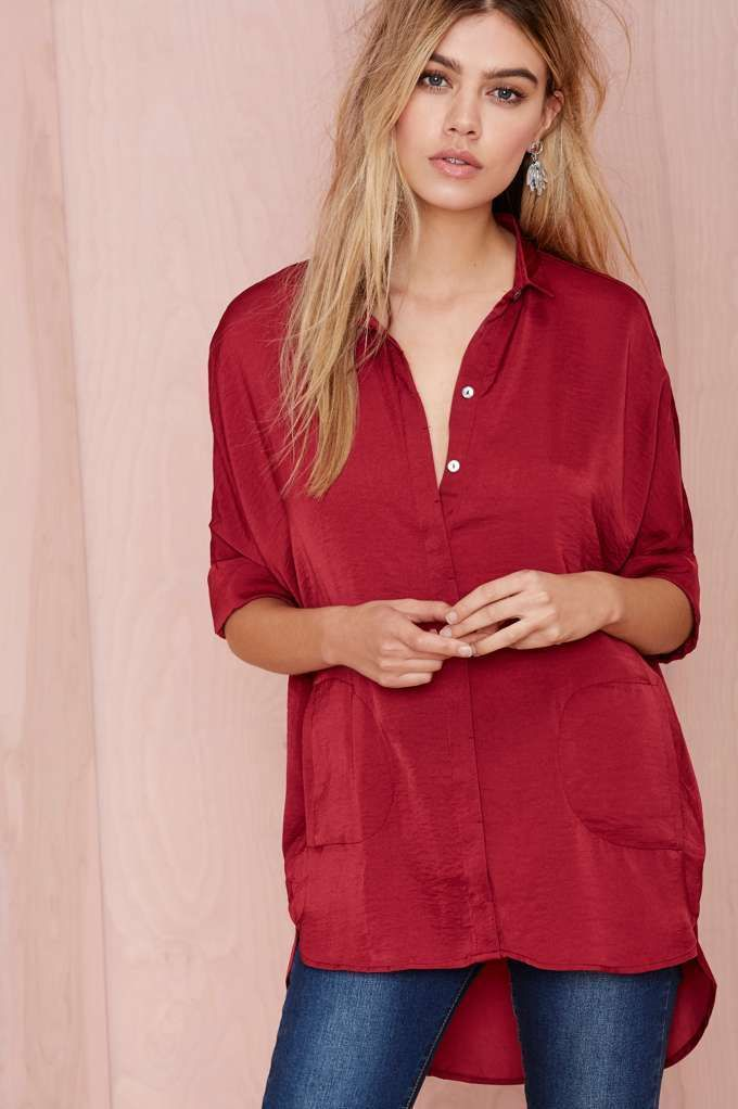 Great red blouse.