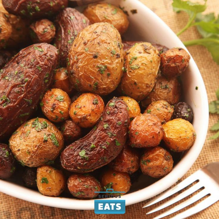 Extra-crispy new potatoes with a buttery, herb-flecked crust.