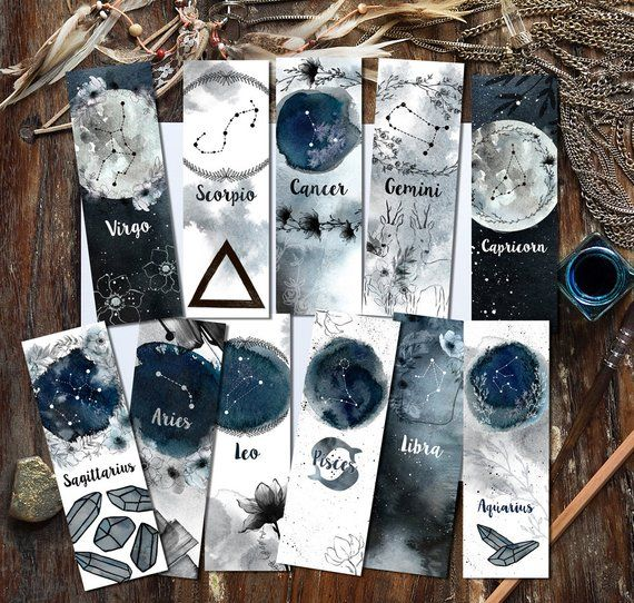 Zodiac Bookmarks, Instant Download Set of 48 Printable Zodiac Watercolor Bookmarks, Astrology Bookmarks, Star Signs Crystals and Moon Phases