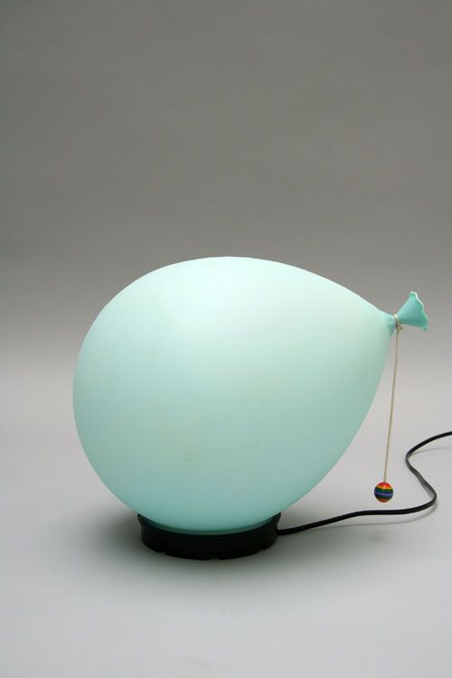 Name :	Balloon lamp; Color : Pale blue   	 	Designer :	 Yves Christin   	 	Manufacture :	Bilumen