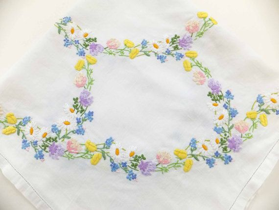Vintage Embroidered Tablecloth - Hand Embroidered Tablecloth - vintage table cover -  spring flowers, Afternoon Tea £30