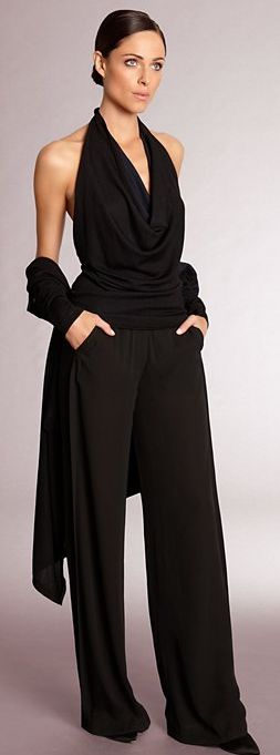 Donna Karan , sophistication in black.  She just needs a gold mesh bracelet with ring to match! We have that....