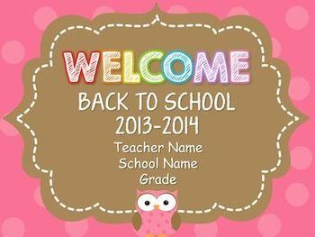 OWL THEME BACK TO SCHOOL OPEN HOUSE POWERPOINT TEMPLATE - TeachersPayTeachers.com