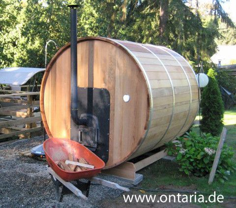 Rustic Canadian Wood Fired Sauna Heater. Our Canadian wood fired Sauna Heater ist included in all our offers but can also be ordered separately. It is a miracle in heating efficiency and beautiful in its rustic charme, You can fire it from the outside back wall and empty ths ash directly in the garden without the mess inside.