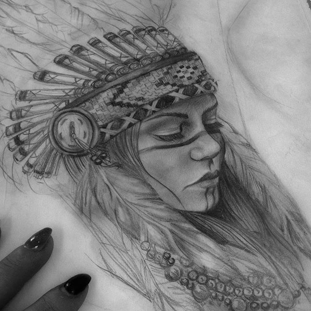 Reference sketch of a Native American woman I did up for tomorrow!! Can't wait to do this!…