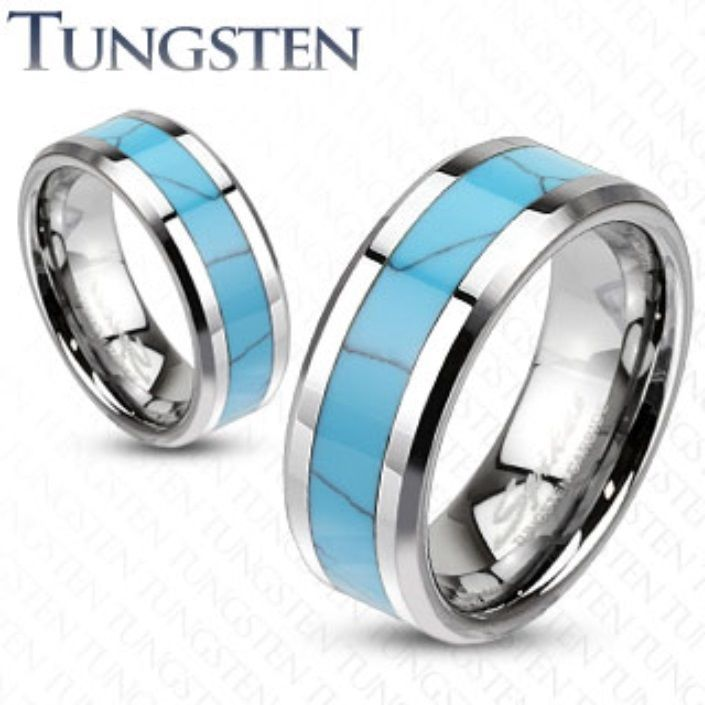 Mens Womens Tungsten Turquoise Inlay Band Ring Wedding S Sizes 12