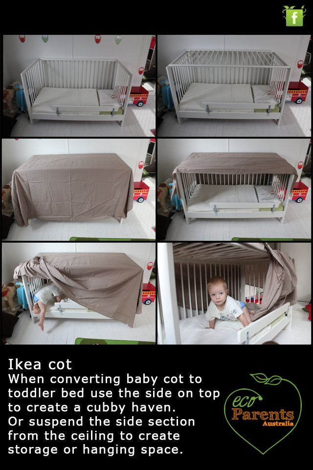 An Ikea cot which has been converted to toddler bed can double as a play haven or the removed side rail can be suspended from the ceiling to create extra storage. Perfect for hanging clothes.