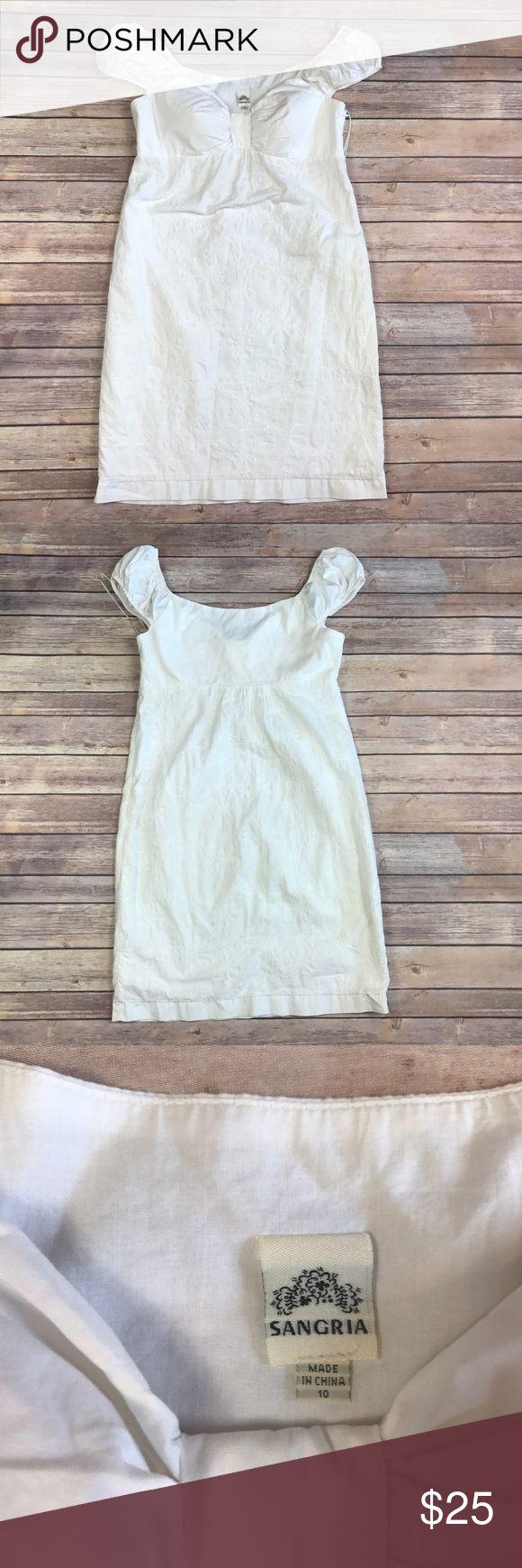 "Sangria white floral off the shoulder dress Sangria women's size 10 white floral off the shoulder dress smoke free home.   armpit to armpit 18"" length 31"" waist 19""   e Signature by Sangria Dresses Mini"