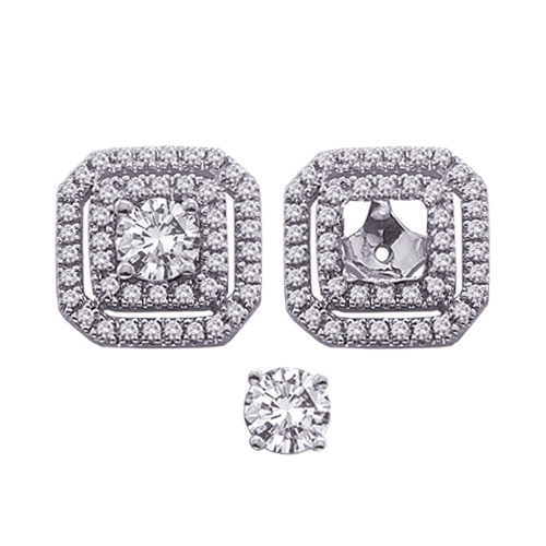 14k White Gold Diamond Double Square Earring Jackets