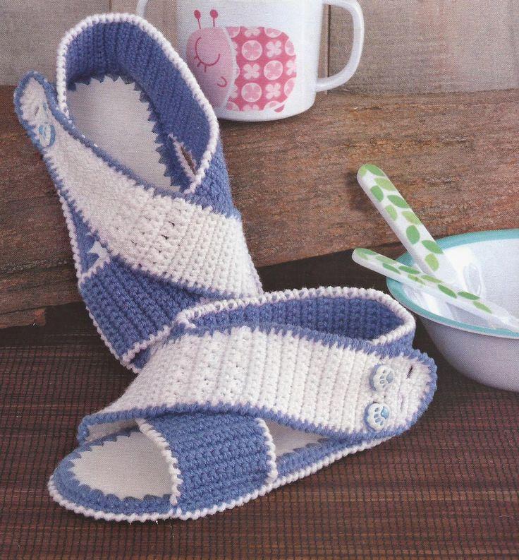 Zapatos a Crochet - Sandalias Infantiles -> http://esquemas.ctejidas.com/2014/06/zapatos-crochet-sandalias-infantiles.html
