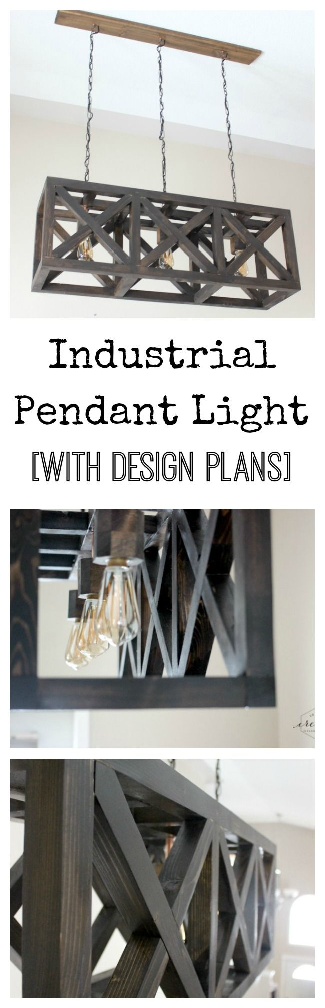 Beautiful Pendant Light with free DIY plans included. Perfect for the kitchen!