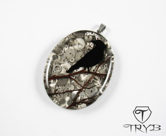 Black Raven on watch parts background - alluding to Edgar A. Poe poems and steampunk culture. #black #raven #cogs #clockwork #steampunk #pendant #tryb #jewelry
