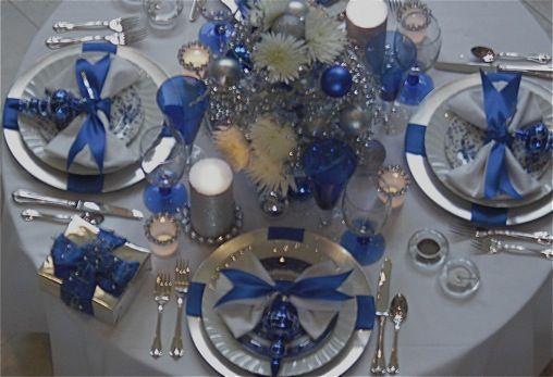 Beautiful blue & silver Christmas table  School auction  ~ 230157_Christmas Table Decoration Ideas Blue Silver