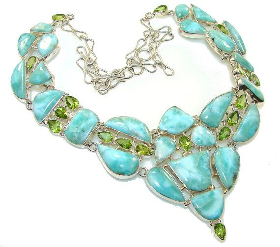 Larimar Peridot Sterling Silver Necklace by SilverRushStyle