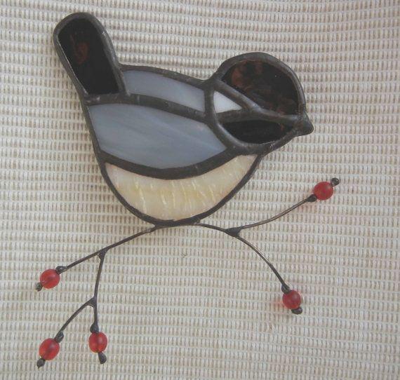 stained glass chickadee