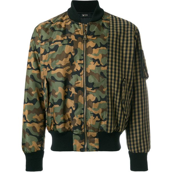Nº21 camouflage and check bomber jacket (17.915 ARS) ❤ liked on Polyvore featuring men's fashion, men's clothing, men's outerwear, men's jackets, green, mens leopard print jacket, mens camouflage jacket, mens short sleeve jacket, mens green bomber jacket and mens camo jacket