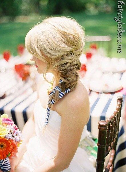 ...Braids Hairstyles, Hair Ideas, Brides, Beautiful, Ribbons Braids, Cute Hair, Hair Style, Side Braids, Wedding Hairstyles