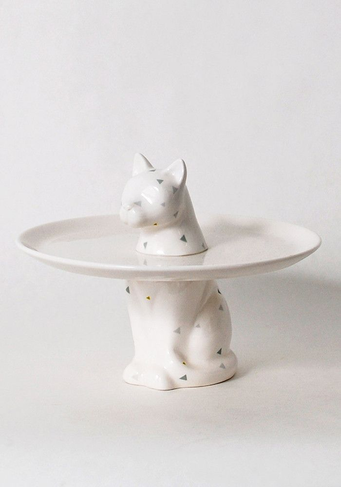 Porcelain cat desert plate. White with geometric patterns.